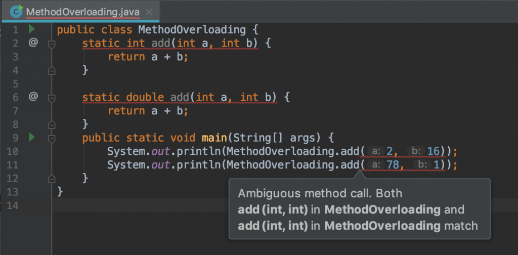 data ambiguity methods overloading in java error