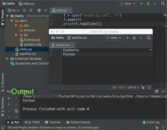 Python file seek function code