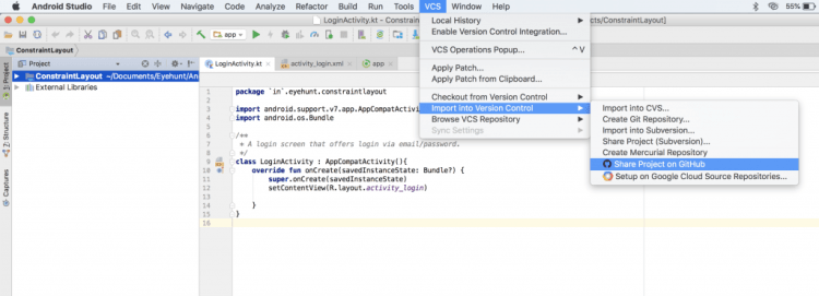 How to add an Android Studio project to GitHub on MAC and