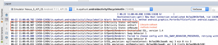Android Activity Lifecycle output