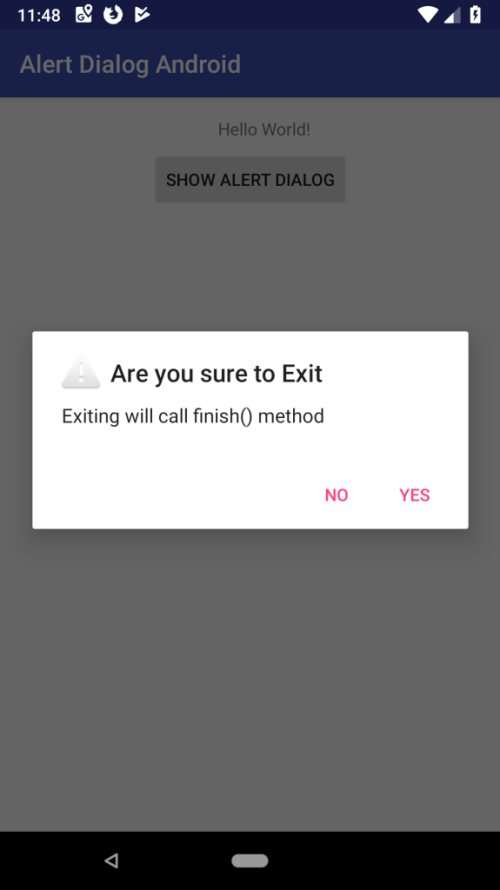 Alert Dialog Android and Example in Kotlin output