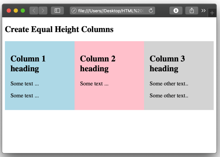 Css equal height columns output
