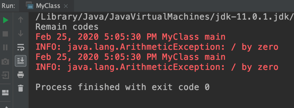 Java print stack trace to log