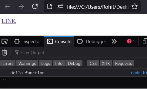 Anchor tag onclick call JavaScript function