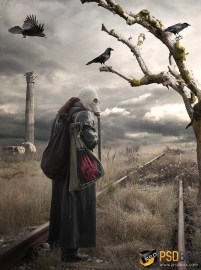 Create a post apocalyptic scene in Photoshop