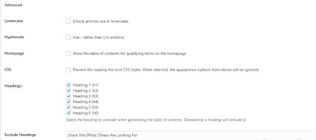 advance setting of add table of content plugin wordpress