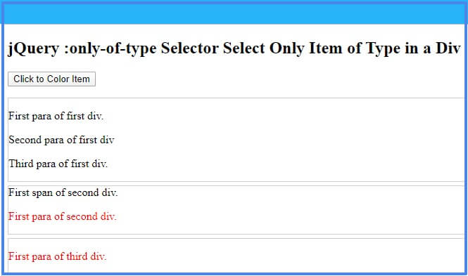 jQuery :only-of-type selector