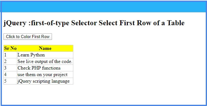 jQuery :first-of-type selector