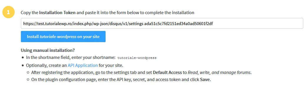 Copy the Installation Token and paste it into the form below to complete the installation