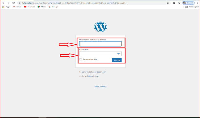 how to enter user name in WordPress