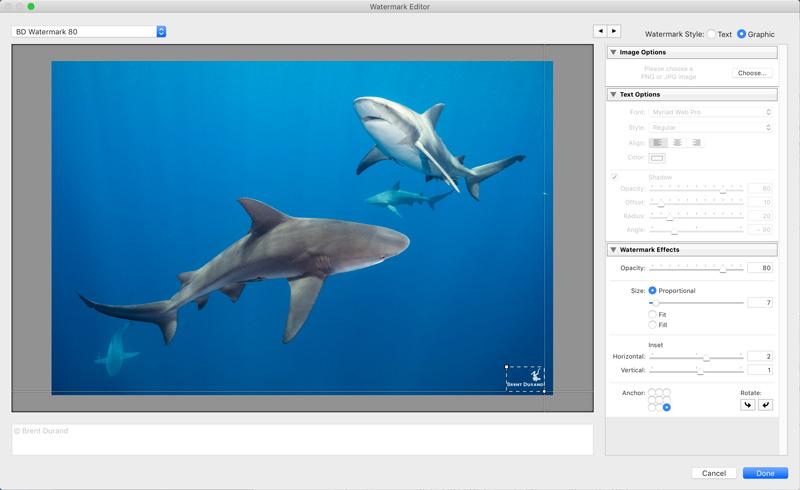 Lightroom watermark editor and watermark settings