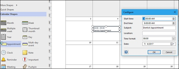 Microsoft Visio Adding Appointments To A Calendar