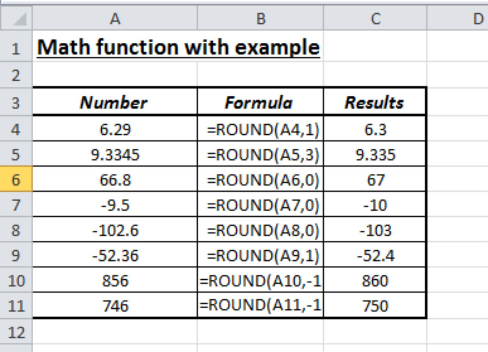 Math Functions In Excel