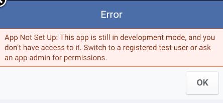 Tutorialwing - android facebook integration public access error