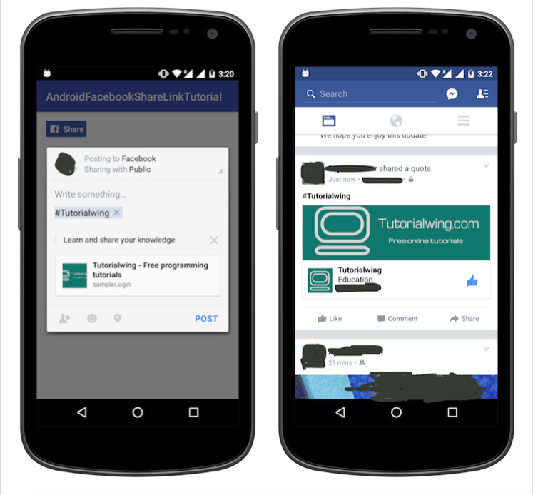 Tutorialwing android facebook share link output post