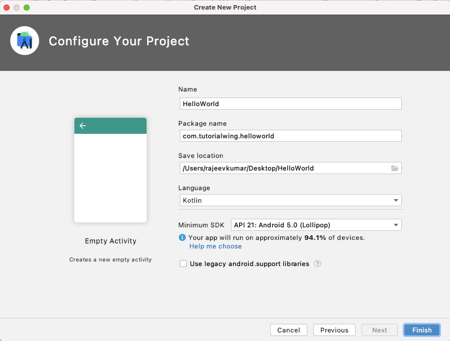 Tutorialwing Android Create Project in Android Studio