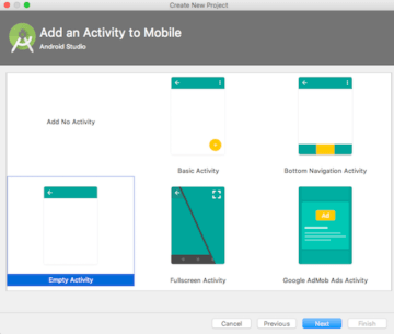 Select An Activity While creating Application