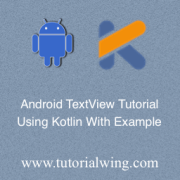 Tutorialwing Android TextView Using Kotlin Tutorial Logo
