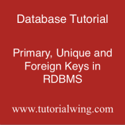 Tutorialwing Database Primary Foreign and Unique keys in rdbms with example