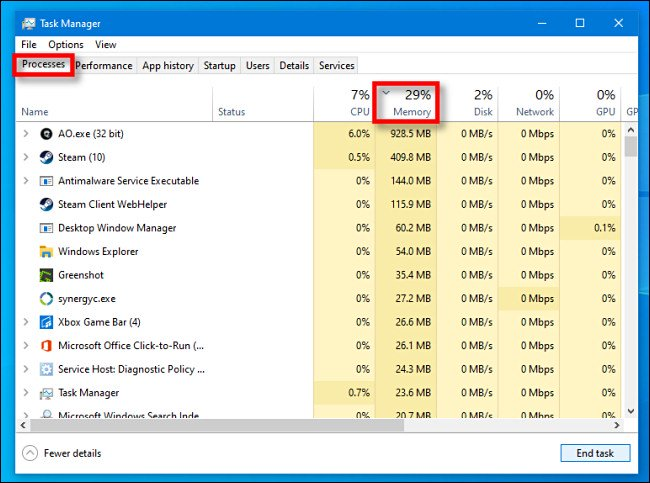 """In Task Manager for Windows 10, click the """"Processes"""" tab, then click the """"Memory"""" column heading."""