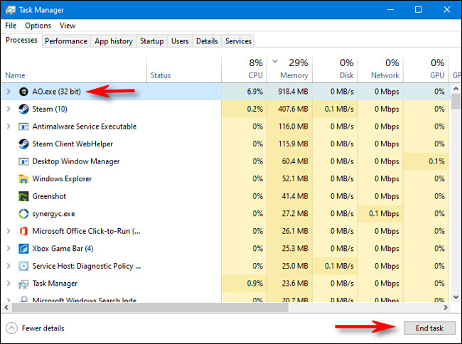 """To kill a process in Task Manager for Windows 10, select the process from the list and click """"End task""""."""
