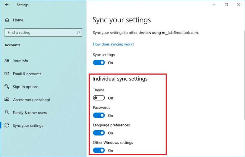 Change sync settings