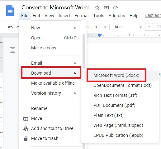 How to Convert Google Docs to Microsoft Word Download