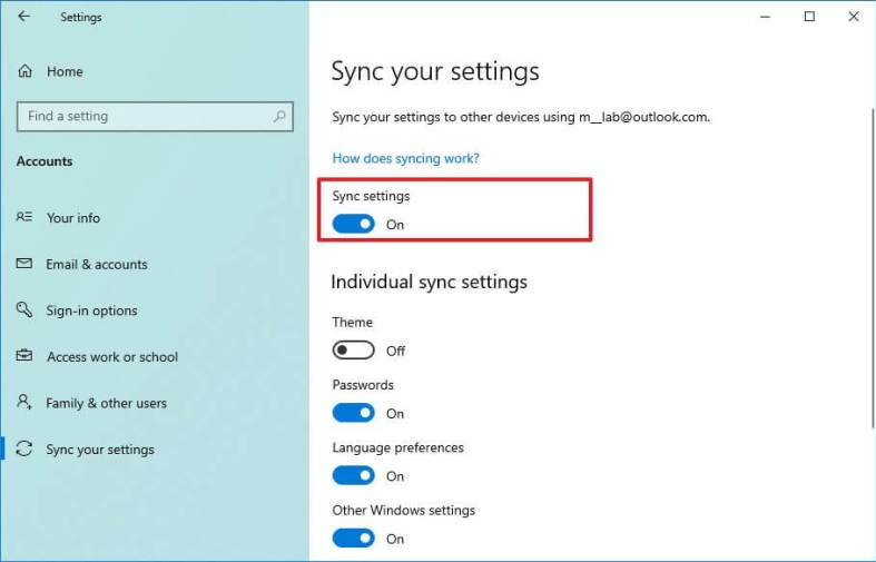 Enable sync settings on Windows 10