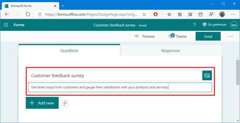 Microsoft Forms customize survey intro