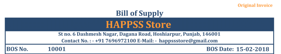 bill of supply explain section wise header - Bill of Supply under GST and Format of BOS