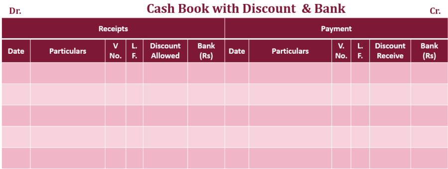 Double column Cash book with bank and discount column