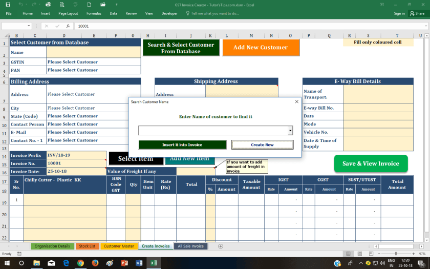 Select Customer - GST Invoice Format