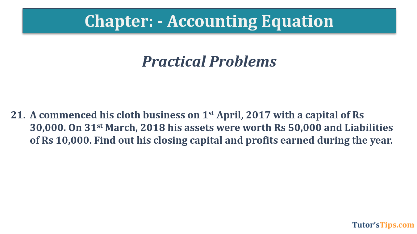 Question No.21 - Chapter No.5- T.S. Grewal +1 Book 2019
