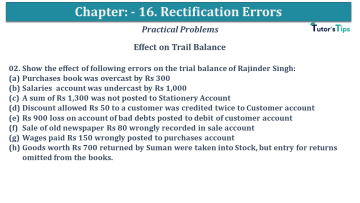 Q 02 CH 16 USHA 1 Book 2020 Solution min - Chapter No. 16 - Rectification of Errors- USHA Publication Class +1 - Solution