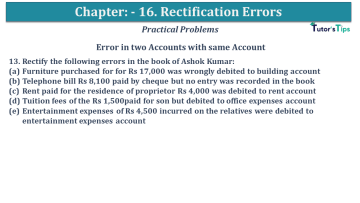 Q 13 CH 16 USHA 1 Book 2020 Solution min - Chapter No. 16 - Rectification of Errors- USHA Publication Class +1 - Solution