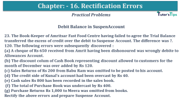 Q 23 CH 16 USHA 1 Book 2020 Solution min - Chapter No. 16 - Rectification of Errors- USHA Publication Class +1 - Solution