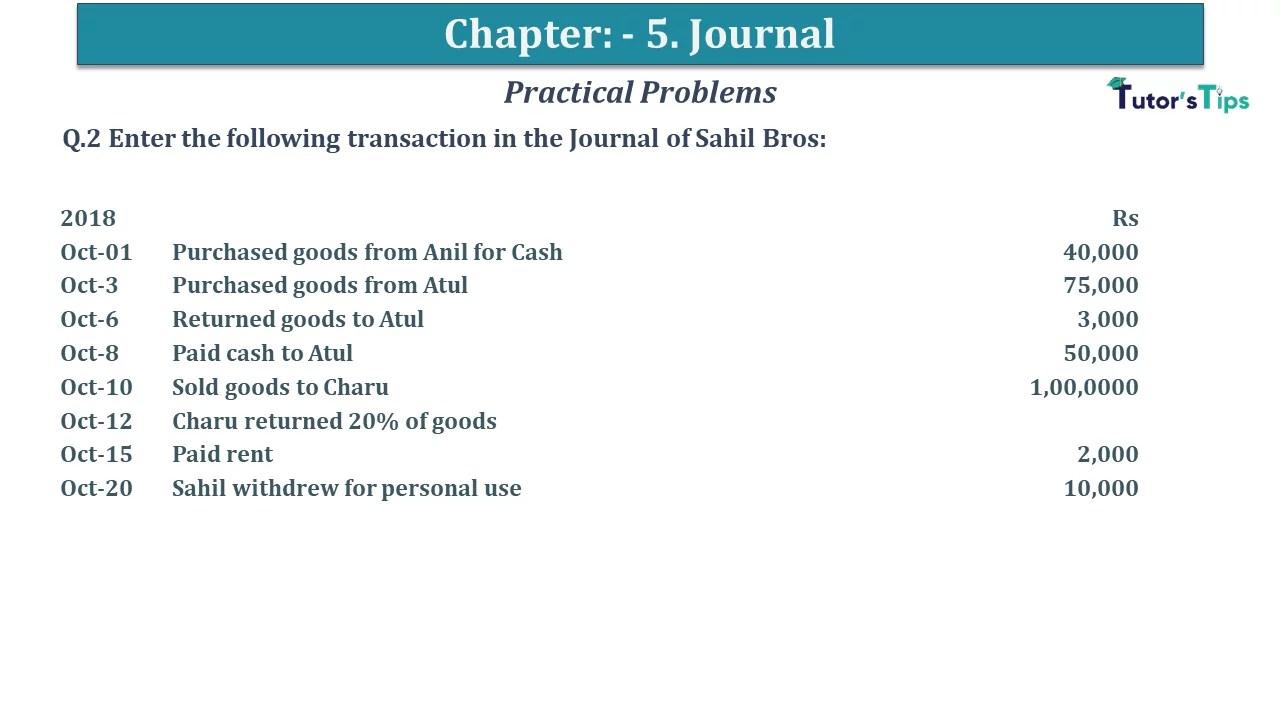 Q 02 CH 5 D.K Goal 1 Book 2020 Solution min - Chapter 5 Books of Original Entry – Journal - D K Goel -(Class 11 - ICSE) - Solution