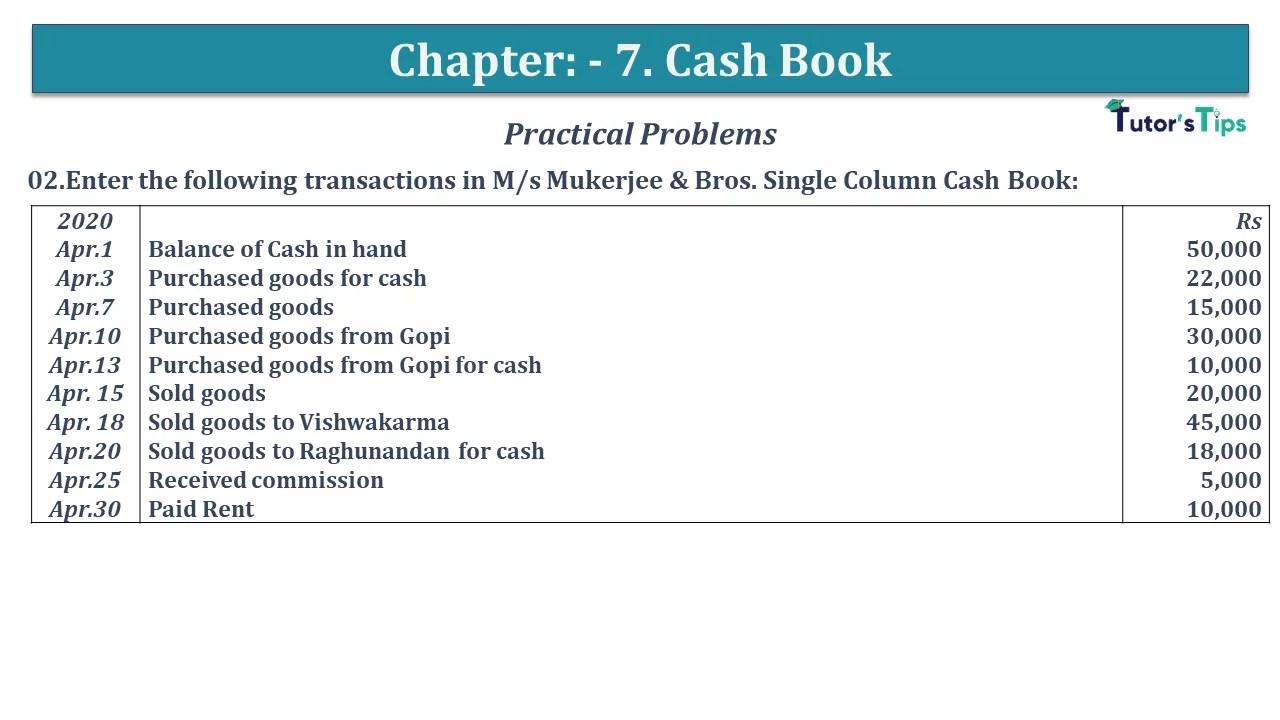 Q 02 CH 7 D.K Goal 1 Book 2020 Solution min - Chapter 7 Books of Original Entry – Cash Book - D.K. Goel -(Class 11 - ISC)- Solution