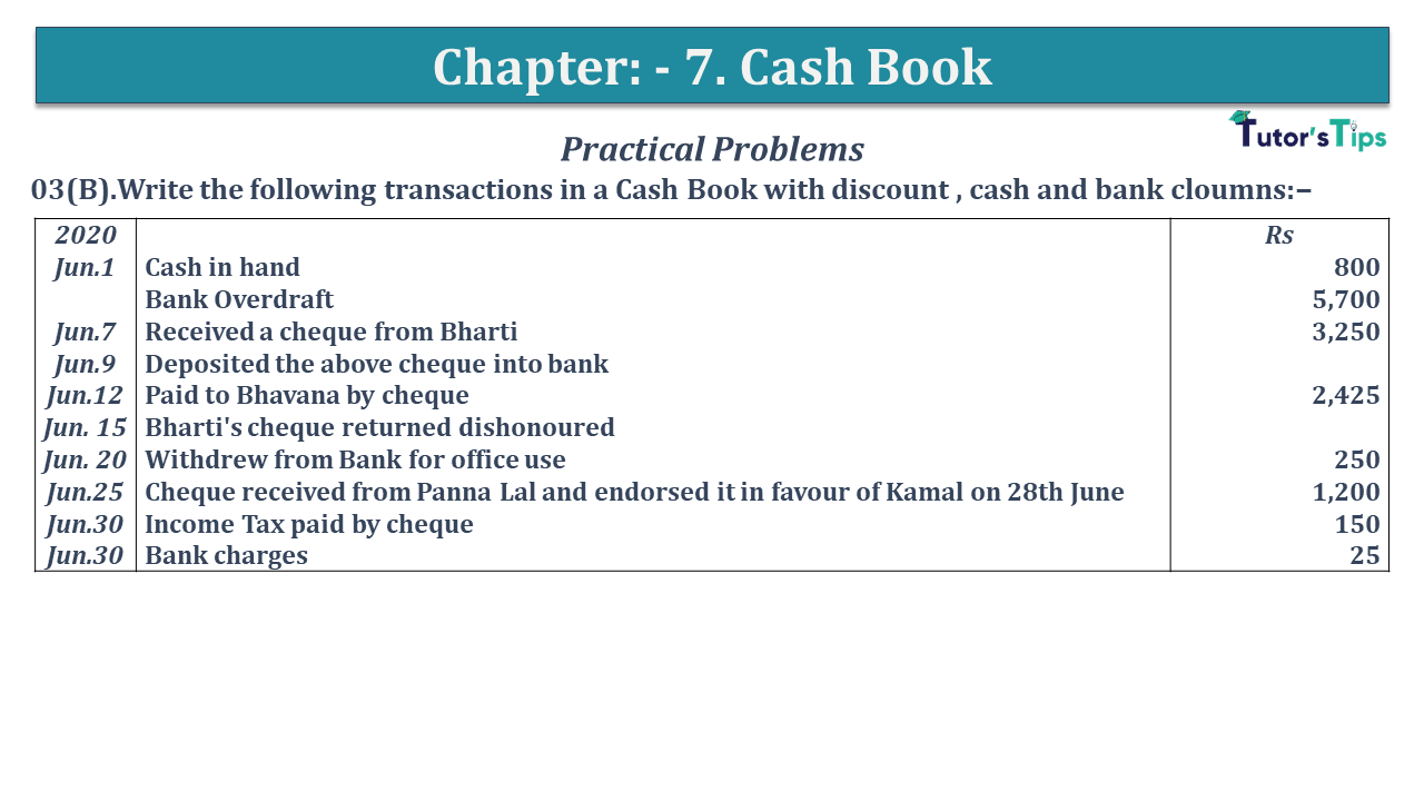 Q 03B CH 7 D.K Goal 1 Book 2020 Solution min - Chapter 7 Books of Original Entry – Cash Book - D.K. Goel -(Class 11 - ISC)- Solution