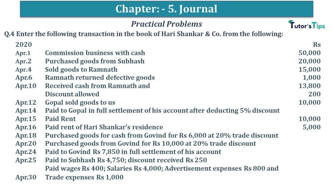 Q 04 CH 5 D.K Goal 1 Book 2020 Solution min - Chapter 5 Books of Original Entry – Journal - D K Goel -(Class 11 - ICSE) - Solution