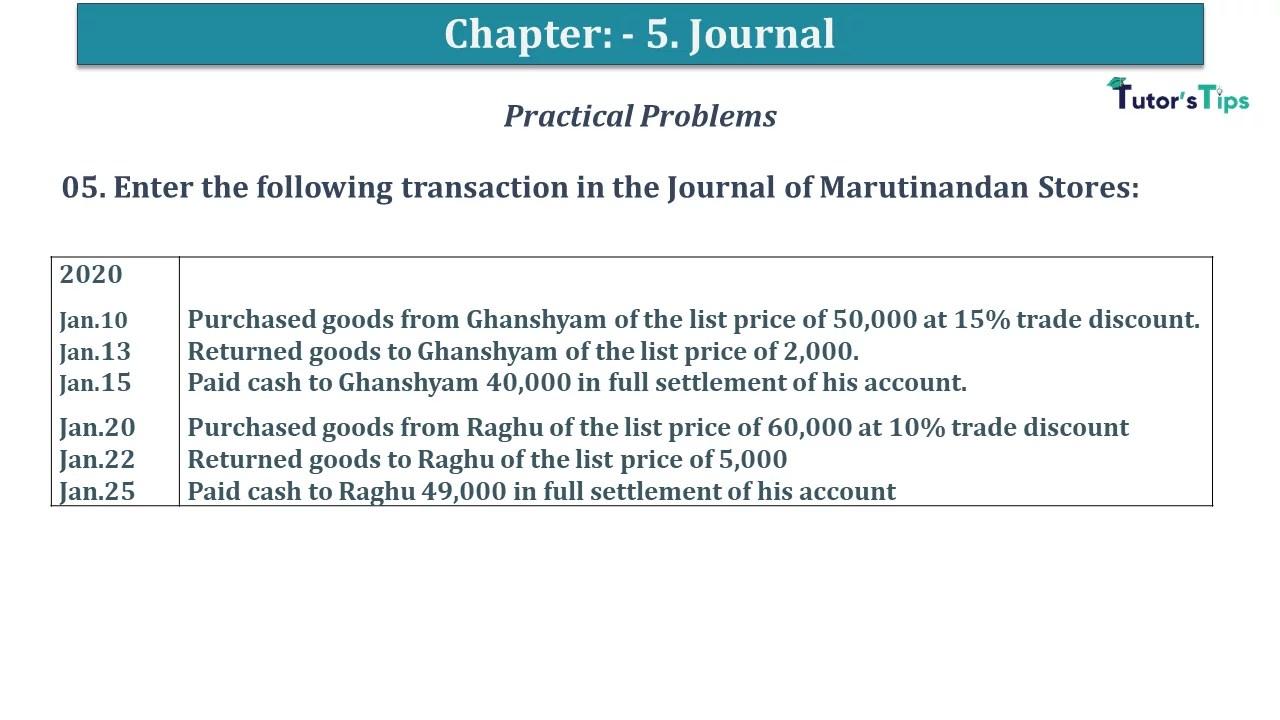 Q 05 CH 5 D.K Goal 1 Book 2020 Solution min - Chapter 5 Books of Original Entry – Journal - D K Goel -(Class 11 - ICSE) - Solution