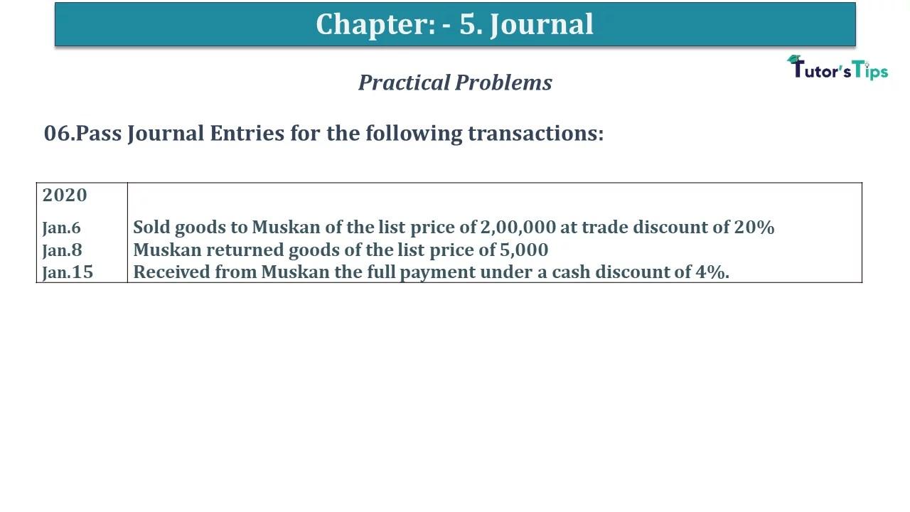 Q 06 CH 5 D.K Goal 1 Book 2020 Solution min - Chapter 5 Books of Original Entry – Journal - D K Goel -(Class 11 - ICSE) - Solution
