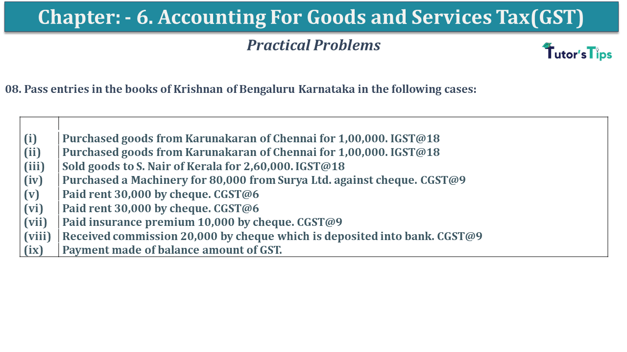 Q 08 CH 6 D.K Goal 1 Book 2020 Solution min - Chapter 6 - Accounting for Goods and Services Tax(GST) - D.K. Goel -(Class 11 - ICSE)- Solution