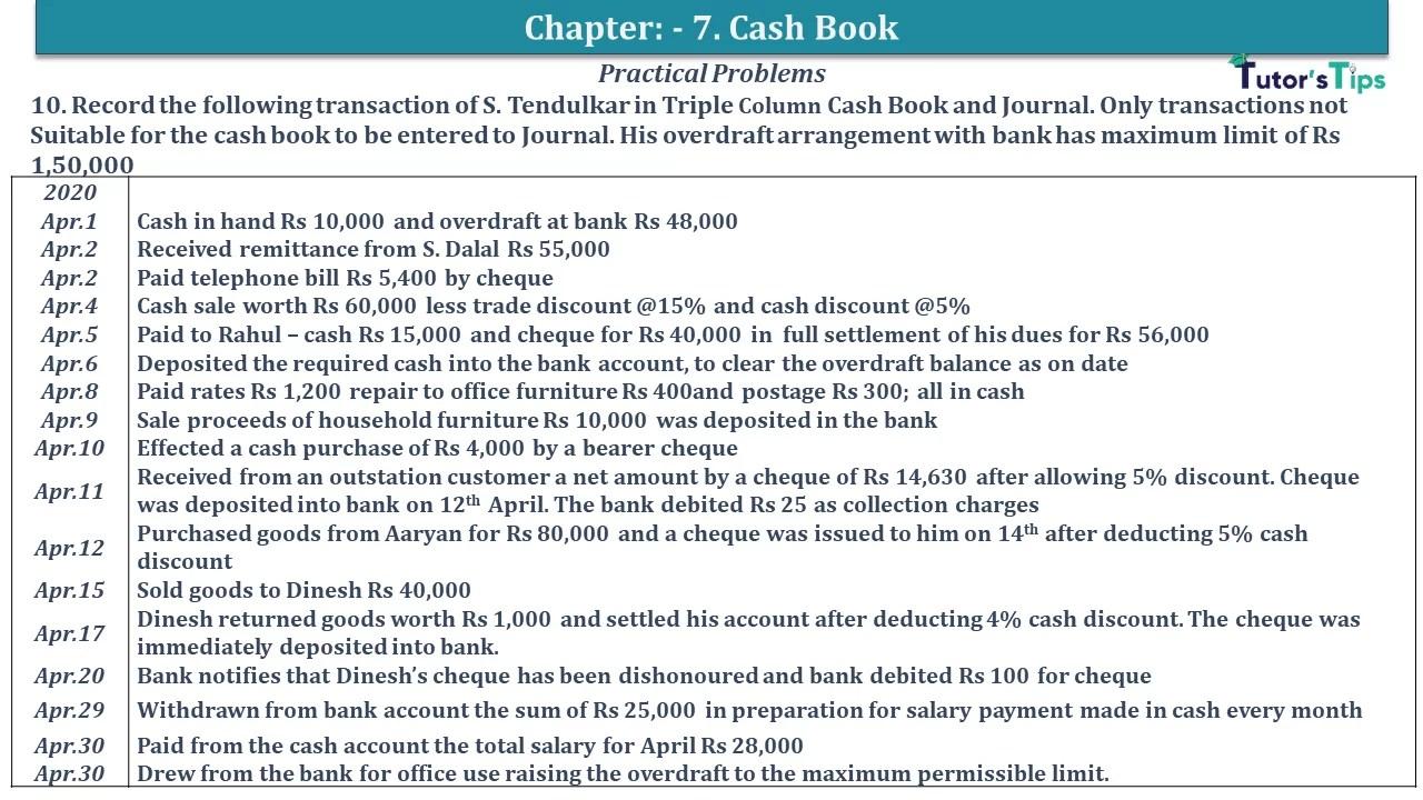 Q 10 CH 7 D.K Goal 1 Book 2020 Solution min - Chapter 7 Books of Original Entry – Cash Book - D.K. Goel -(Class 11 - ISC)- Solution