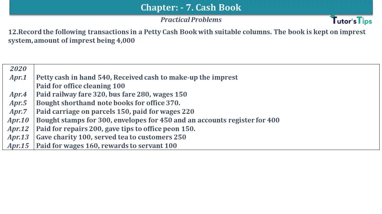 Q 12 CH 7 D.K Goal 1 Book 2020 Solution min - Chapter 7 Books of Original Entry – Cash Book - D.K. Goel -(Class 11 - ISC)- Solution