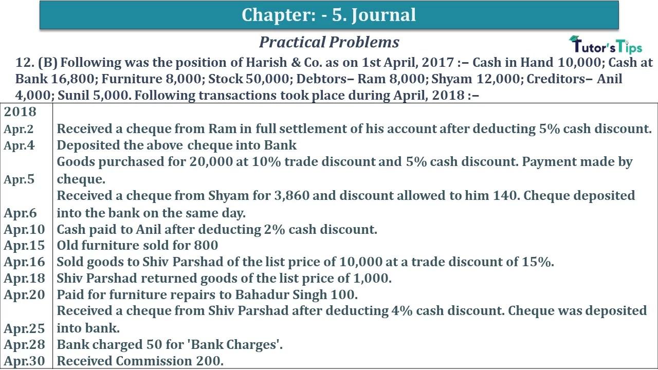 Q 12B CH 5 D.K Goal 1 Book 2020 Solution min - Chapter 5 Books of Original Entry – Journal - D K Goel -(Class 11 - ICSE) - Solution