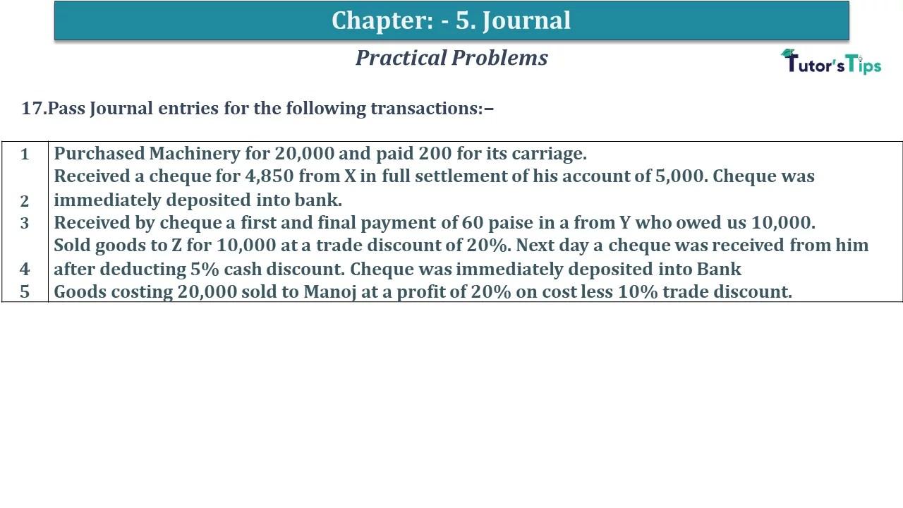 Q 17 CH 5 D.K Goal 1 Book 2020 Solution min - Chapter 5 Books of Original Entry – Journal - D K Goel -(Class 11 - ICSE) - Solution