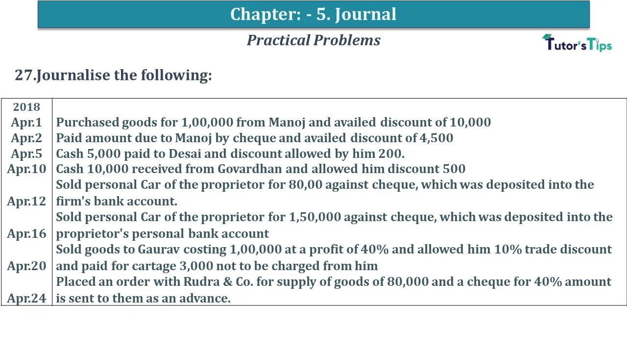 Q 27 CH 5 D.K Goal 1 Book 2020 Solution min - Chapter 5 Books of Original Entry – Journal - D K Goel -(Class 11 - ICSE) - Solution