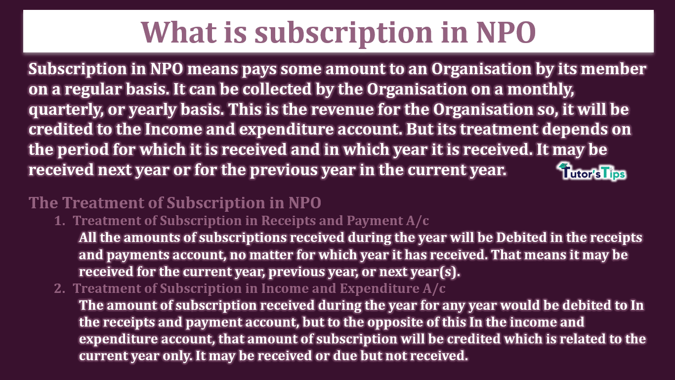 What is subscription in NPO-min