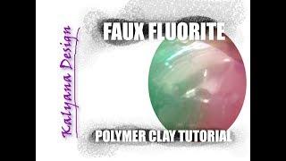 Faux fluorite –  gemstone imitation technique polymer clay tutorial – 127